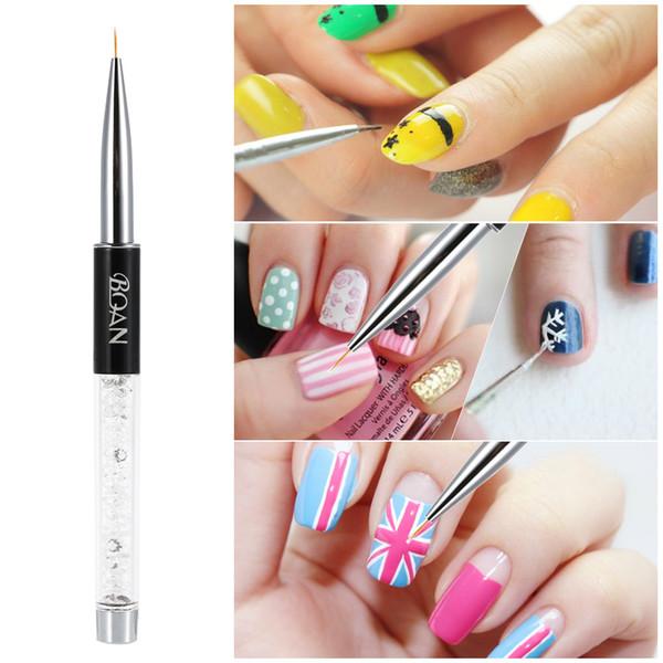 Bqan 7mm Crystal Acrylic Uv Nail Brush Painting Set Nylon Pen ...