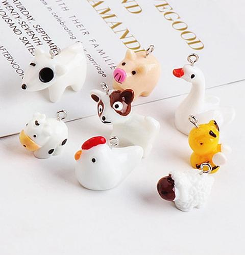 20PCS, Enameled dog sheep bee cow chicken goose charm pendant, bracelet necklace charm , jewelry findings