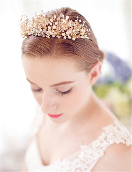 Vintage Wedding Bridal Crown Tiara Crystal Rhinestone Headband Headpiece Princess Queen Hair Accessories Gold Pearl Jewelry Leaf Hairband