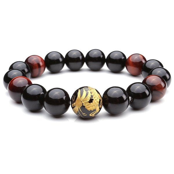 Mens King of Dragon Carved Tiger Eye Stone Buddha Mala Link Beaded Bracelet 6.8""
