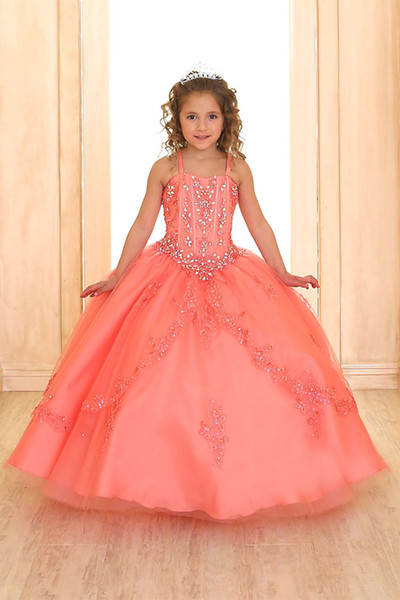 top popular Coral Luxury Princess Ball Gown for Girls Pageant Dresses 2020 Sleeveless Flower Girl Dress With Jacket Beaded Little Girl Dress For Wedding 2020