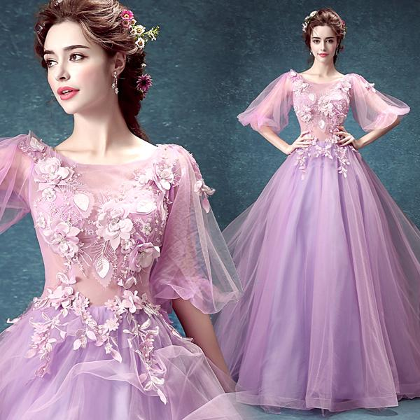 Free shipping A-line beautiful Sexy Luxcy Modern Tulle Floor-length Scoop Zipper Hand Made Flowers Applique Wedding Dresses Events 160002-1
