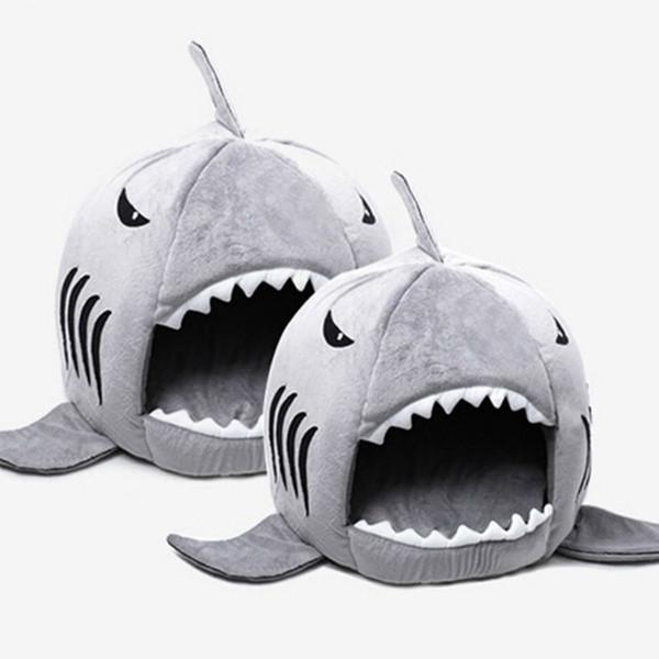 Novedad cama para perro suave Tiburón lindo forma de ratón Dormitorio para mascotas Cama para dormir con cojín extraíble Diseño Cómodo tacto de la mano