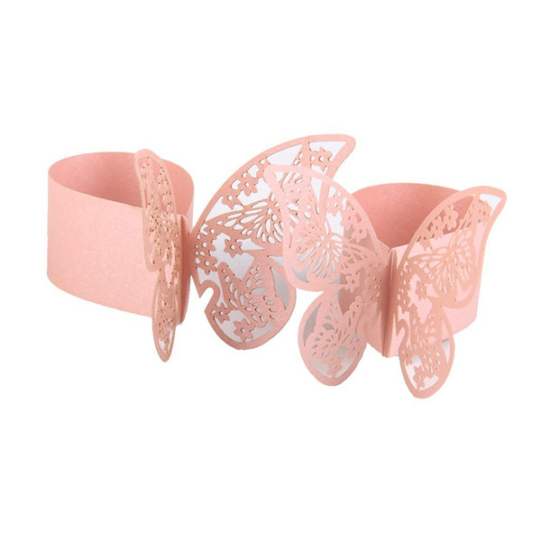 Wholesale- 50PCS 3D Butterfly Paper Napkin Ring Holder Wedding Party Table Decor (Pink)