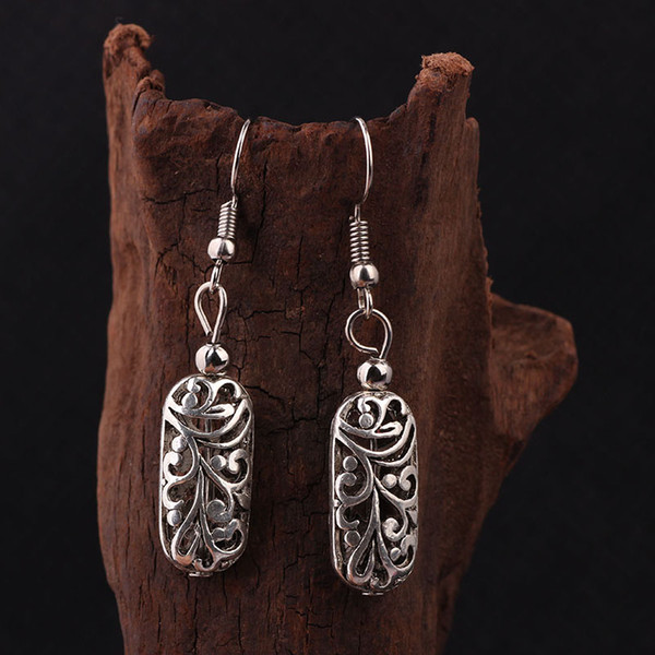 Wholesale-stage performance DIY vintage Tibetan style Miao silver flowers dangle earrings ,New Chinese wind old fashioned jewelry