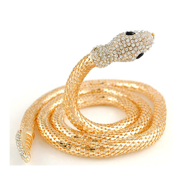 Chock Necklace Golden Silver Snake Chain Necklace Diamond Long Necklaces Animal Gemstone Body Jewelry Sweater Chain Waist Chain