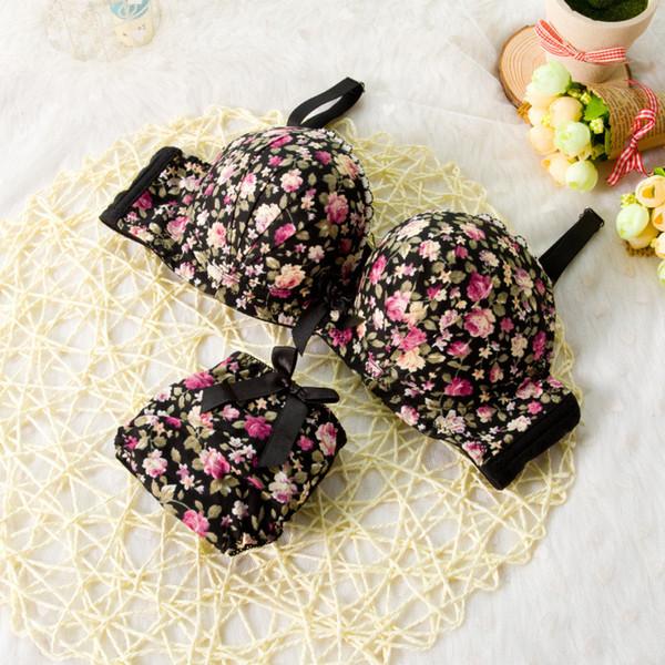 Seamless Underwear Brassiere Modal Comfortable Bra Set Print Floral Bra Brief Sets Sexy Bra And Panty Set Conjunto Lingerie