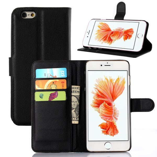 For iphone 6 plus /6s PLUS active Litchi Leather Wallet ID Credit Card Holder Stand Flip Case Cover 9 colors choose