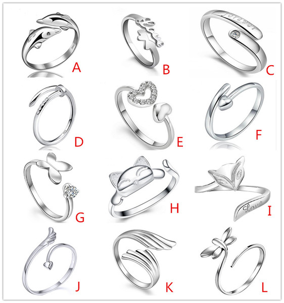 925 Sterling Silver plated Jewerly Rings Heart Dolphins Dragonfly Wings Of The Angel Love Fox Butterfly Opening Adjustable Ring For Women