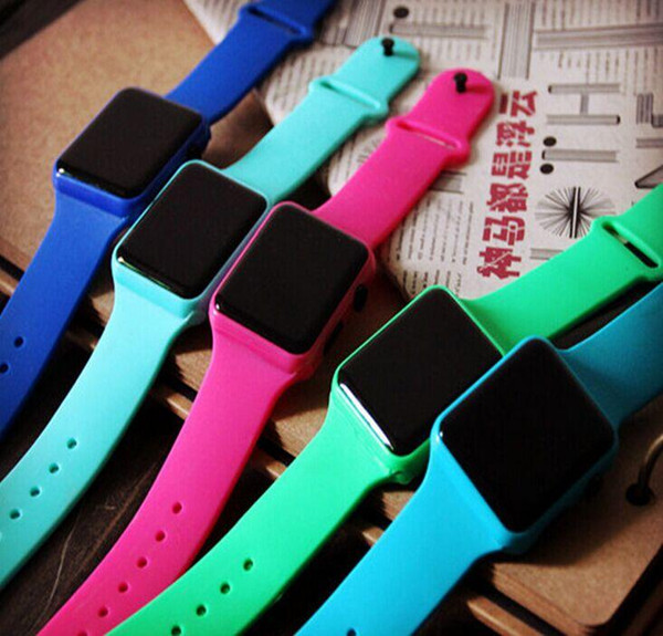 Lot 500pcs Square Mirror Face Silicone Band LED Digital Watch Red LED Watches Quartz Wrist Watch Sport Clock Hours gift DHL Free