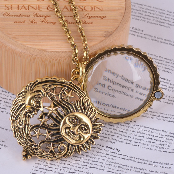 Wholesale- magnifier glass pendant sun with moon and stars necklace antique gold jewelry opens and closes