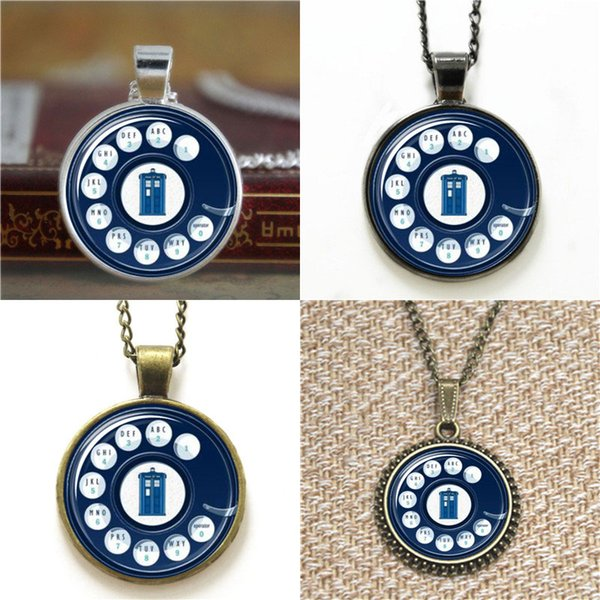 10pcs Doctor Who Inspired Rotary Phone Tardis glass Dome Pendant Necklace keyring bookmark cufflink earring bracelet