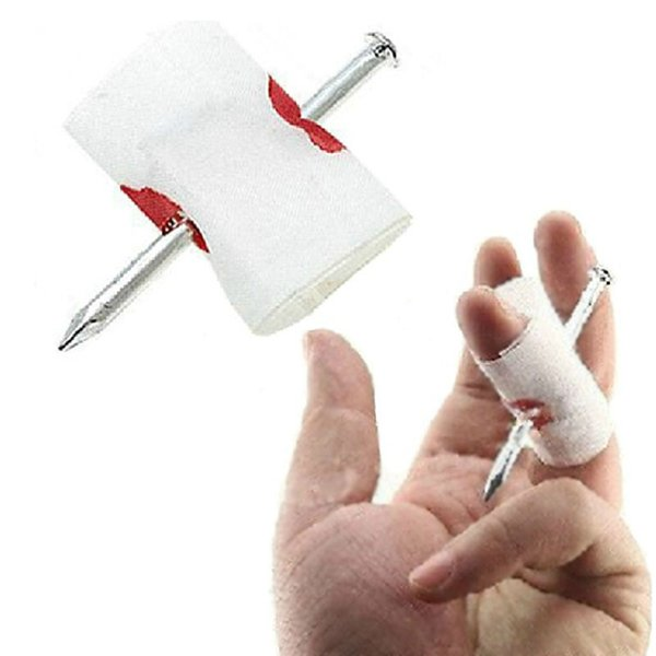 Fake Blood Manmade Nail Through Finger With Bandage April Fool Trick Prop Scary Halloween Party Funny Toy Free Shipping