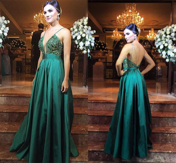 Real Photo Vintage Evening Dresses Spaghetti Satin Red Carpet Dresses Embroidery Criss Cross Straps Runway Fashion Dresses Cheap 2017 Welcome to our store ,our dress all custom made ,there are formal evening prom dresses ,bridesmaid dresses ,flower girl dresses and bridal accessories.