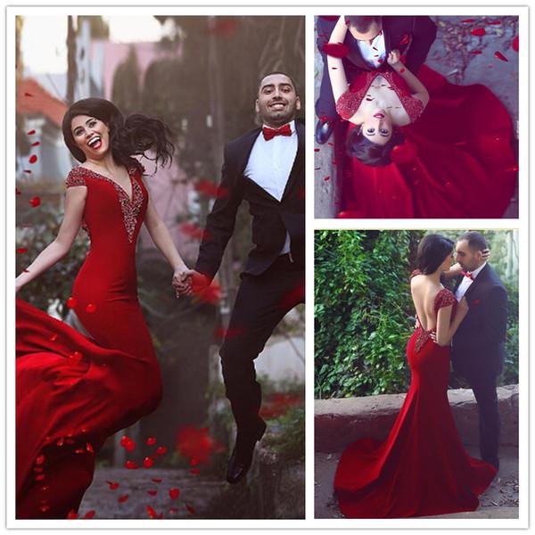 2016 Said Mhamad Dark Red Prom Dresses Cap Sleeve V Neck Beaded ...