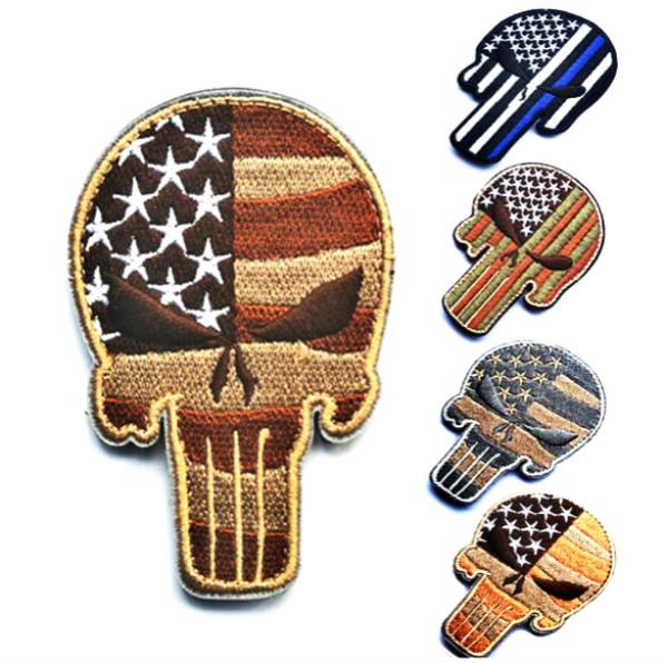 best selling 2.5*3.5 inch 3D Embroidered patch with magic tape Punisher Skull USA WAVING FLAG MILSPEC ARMY MORALE ISAF DESERT outdoor badge GPS-013