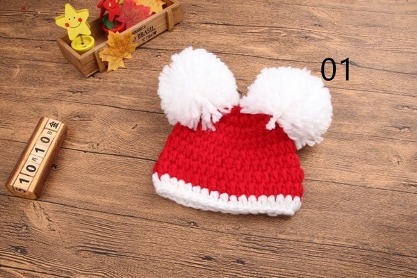 2016 Korean double ball infant HAT wool knitted hat edge thickened Baby Christmas cap cap 20161025