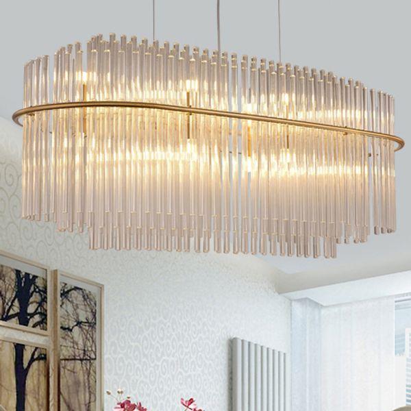 Post-modern luxury gold led pendant lamps crystal glass pendant chandeliers new design creative pendant lights restaurant club hotel villa
