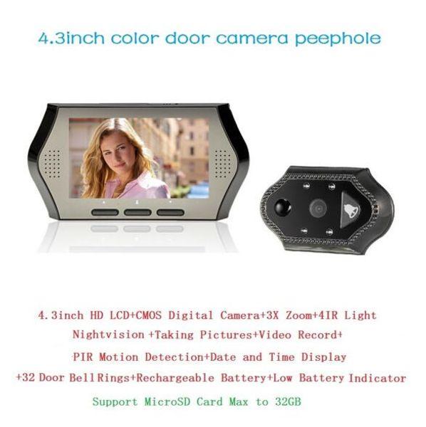 Hot wireless door peephole camera 4.3inch LCD 0.3Megapixels IR night vision PIR Motion Detection 32 Rings 3X Zoom door peephole