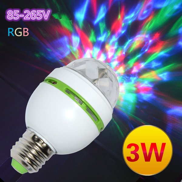 Magic Ball E27 3W Full Color 3W RGB Led Lamps E27 Lampada Led Bulb AC 85-265V 110v Auto Rotating Stage Lights Projector For DJ Party Show