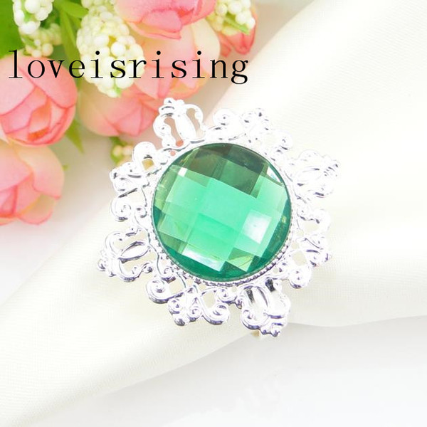 FREE SHIPPING-100Pcs high quality Green Color Gem Vintage Style Napkin Rings Wedding Bridal Shower Napkin holder