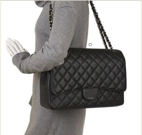 Large Class 33CM Maxi Vera pelle di caviale trapuntata a doppia patta Fashion Shoulder Chain Bags Borse borsa esterna hardware