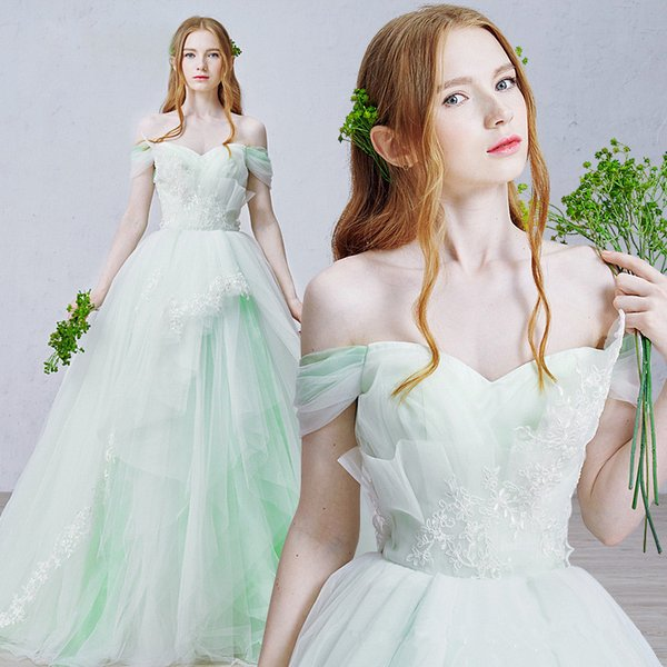 Mint Green Vintage Lace Wedding Dresses Off the Shoulder Sweetheart Cap Sleeves with Tulle Detachable Bridal Gowns Amelia Sposa Court Train