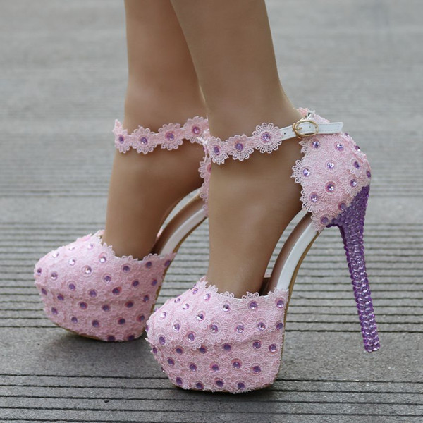 New Pink Lace Wedding Shoes Customized Platform Party Bridal Dress Shoes Birthday Party Prom Pumps Bridesmaid Shoes Best Shoes Stacy Adams Shoes From