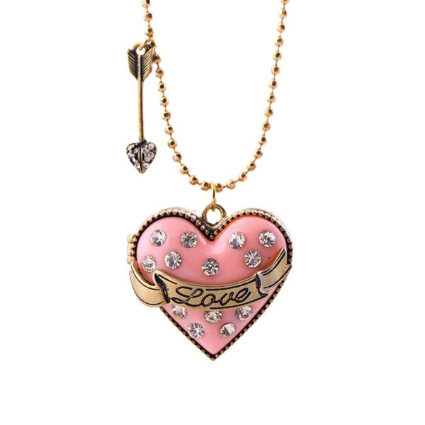 Love Pave Heart Locket Necklace and Crystal Arrowhead Pendant Necklaces with Gold Ball Chain Special Gift In Heart Box Popular Free Shipping