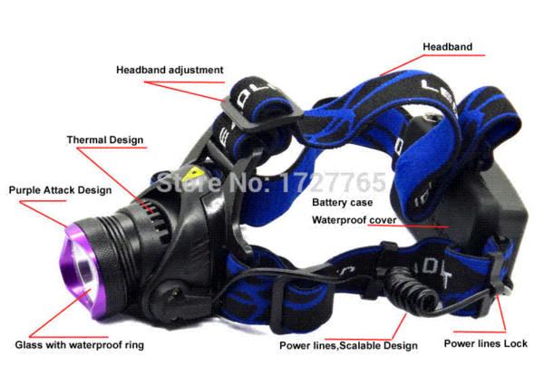 Lanterna de cabeça para Caminhada com Carregador de Carro Luz Para escalar alta qualidade CREE T6 Apropriado para o esporte ao ar livre