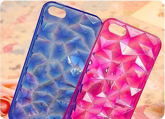Elegant 3D Crystal Diamond Stone Pattern Transparent Tpu Rubber Case Clear Diamond Shape Tpu Case For iPhone 5 5s 5G 100pcs/lot