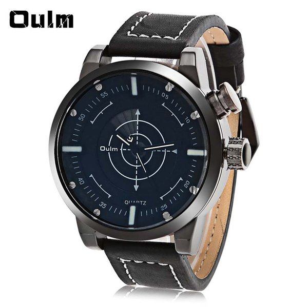 New fashion oulm 3558 led scanning leather band men double movt watch