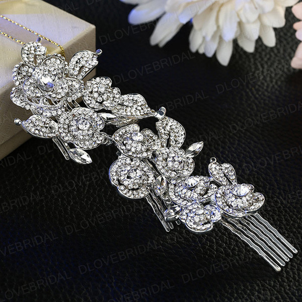 Fairy Bridal Bridal Hair Comb New Arrival Shinny Crystal Rhinestone Floral Wedding Prom Evening Party Headpieces Jewelry Accessory Tiara Hot