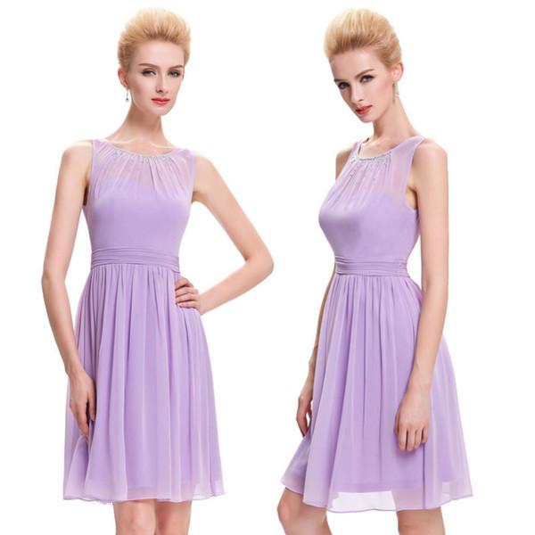 Brevi abiti da ballo lilla 2019 più nuovo al ginocchio lunghezza in chiffon partito di perline vestito da promenade di promenade abiti occasioni speciali su ordine