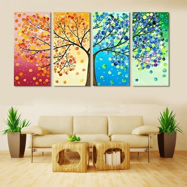 4 Piece Frameless Colourful Leaf Trees Canvas Painting Wall Art Spray Wall Painting Home Decor Canvas