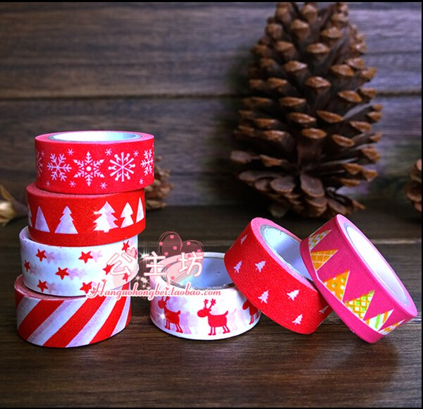 best selling Wholesale- 2016 2017 New 1x Colorful Christmas Trees & Polka Dots Patterned Japanese Washi Tape Decorative Masking Tape Office Adhesive Ta