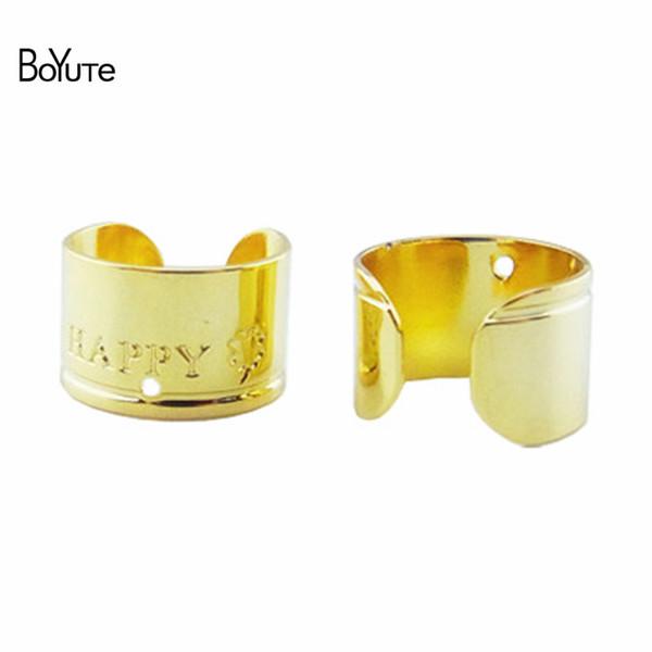 BoYuTe (50 Pieces/Lot ) 11*7MM Happy Clover Ear Cuff Clip, Fashion Ear Cuff Earrings with 1MM Hole