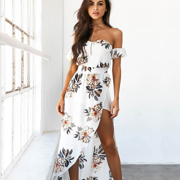 Summer Women Bobo Slash Neck Beach Casual Floral Print Off the Shoulder Strapless Femme Vestidos Maxi White Party Dress