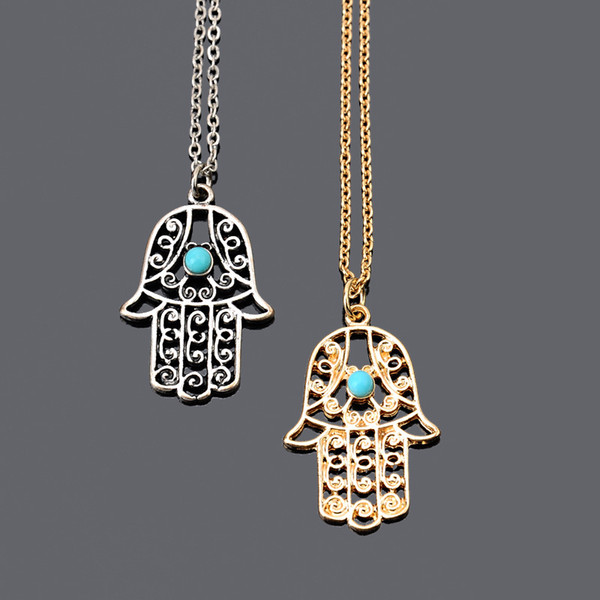 bohemian Design Vintage Handmade Jewelry Simple Green Stone Gold Silver Color Charm Hamsa Hand Pendant Necklaces for women Choker