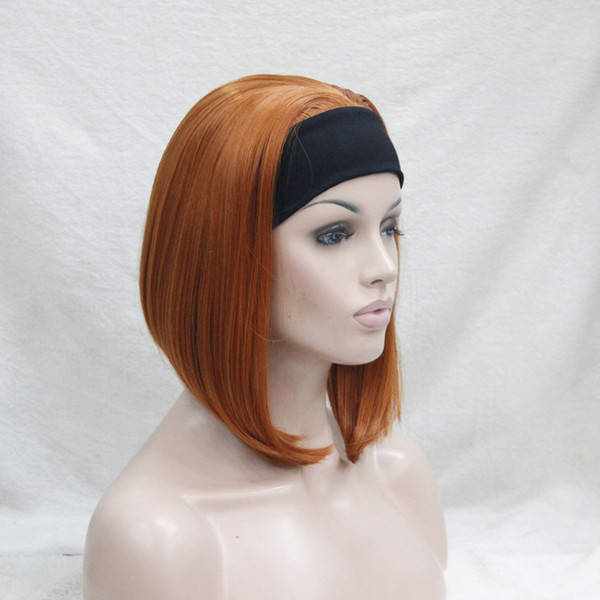 Frete grátis bonita bonita síntese Bonito orange brown 3/4 peruca com headband curto reta mulheres sintéticas 'metade peruca
