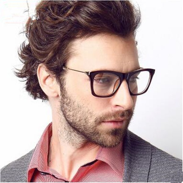 Wholesale- 2016 Brand New Designer Cat Eye Glasses TR 90 Retro Fashion Black Men Glasses Frame Clear Lens Vintage Eyewear