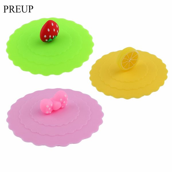 Wholesale- PREUP Lovely Anti-dust Silicone Fruit Glass Mug Cover Leakproof Coffee Mug Lid Cap Airtight Sealed Cup Cover Free Shipping