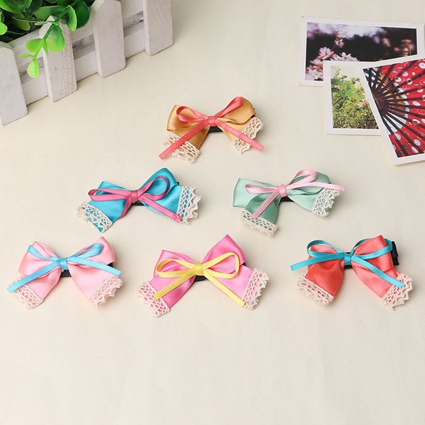 Pet/Children hair bow ribbon material small wholesale Dog hair clip pet hairpin Dog accessories 50pcs