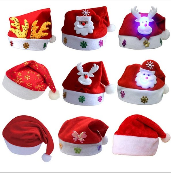 30*24Cm Christmas Decorations Holiday Supplies Cartoon Christmas Gift For Kids Adult White Elk Snowman Santa Caus Hats Christmas Party Gifts