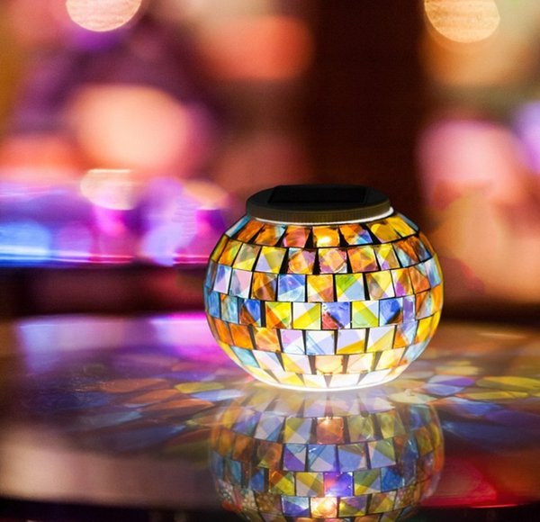 color changing solar garden lights. Solar Powered Mosaic Glass Ball Garden Lights, Color Changing Table Lamps, Waterproof Lights O