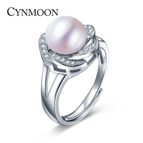 Natural Freshwater Flower Pearl Ring 8-9mm White Pearl Adjustable Ring Jewelry For Women Wedding Engagement Ring