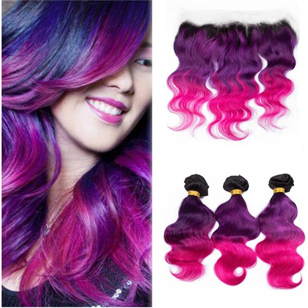 Three Tone Human Hair Wefts With Lace Frontal Closure 1b Purple Pink Ombre Hair With Lace Frontal Closure 4pcs/lot
