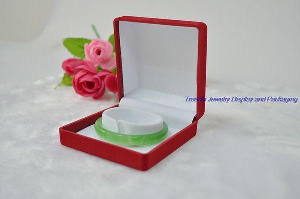 Wholesale cheap 12pcs/lot Red Velvet Bracelet Jewelry Love Bangle Box Jade Storage Case 9*9*3.9(cm)