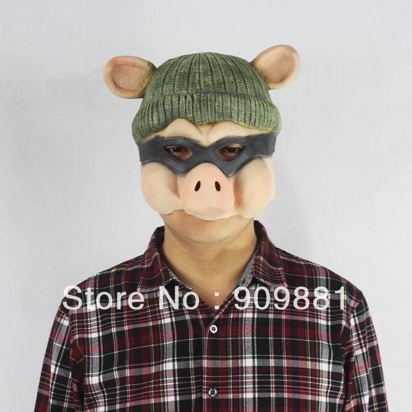 Cartoon GG Bond Pig Latex Mask Full Head Halloween Animal Pig Swine Rubber Masks Masquerade Costume Fancy Cosplay Party Props