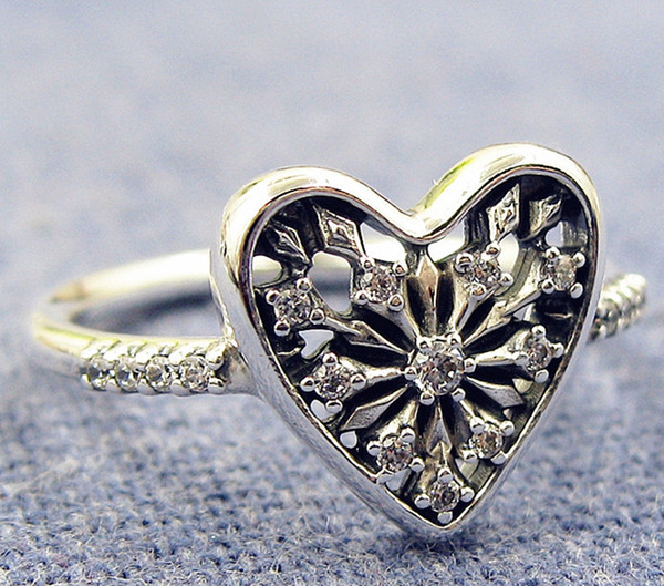 2017 New 100% 925 Sterling Silver European Pandora Jewelry Heart of Winter Ring with Cz Fashion Charm RingRuby